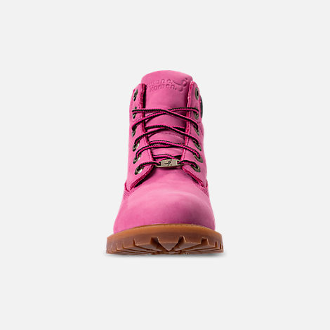 Front view of Girls' Grade School Timberland 6 Inch Classic Boots in Pink