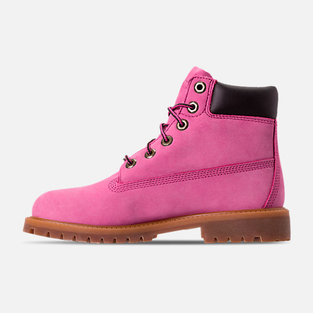 Left view of Girls' Grade School Timberland 6 Inch Classic Boots in Pink