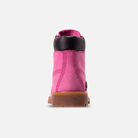 Back view of Girls' Grade School Timberland 6 Inch Classic Boots in Pink