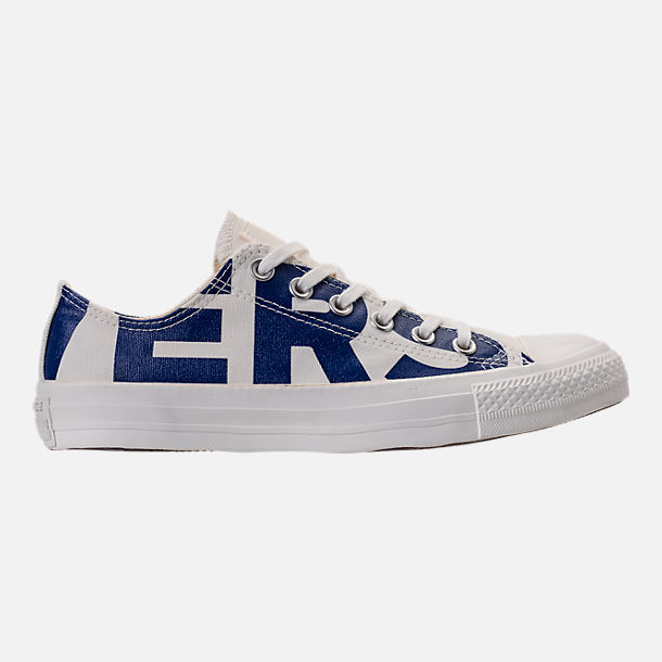 Right view of Men's Converse Chuck Taylor All-Star Wordmark Low Top Casual Shoes in Off White/Navy