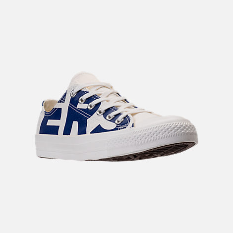 Three Quarter view of Men's Converse Chuck Taylor All-Star Wordmark Low Top Casual Shoes in Off White/Navy