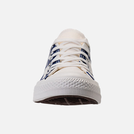 Front view of Men's Converse Chuck Taylor All-Star Wordmark Low Top Casual Shoes in Off White/Navy