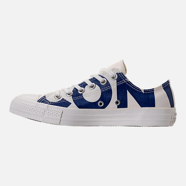 Left view of Men's Converse Chuck Taylor All-Star Wordmark Low Top Casual Shoes in Off White/Navy