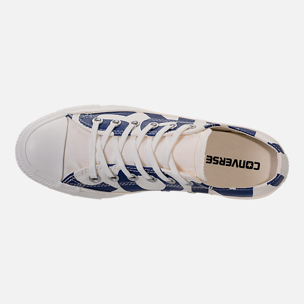 Top view of Men's Converse Chuck Taylor All-Star Wordmark Low Top Casual Shoes in Off White/Navy