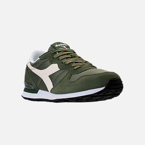 Three Quarter view of Unisex Diadora Camaro Casual Shoes in Army Green/White/Beige
