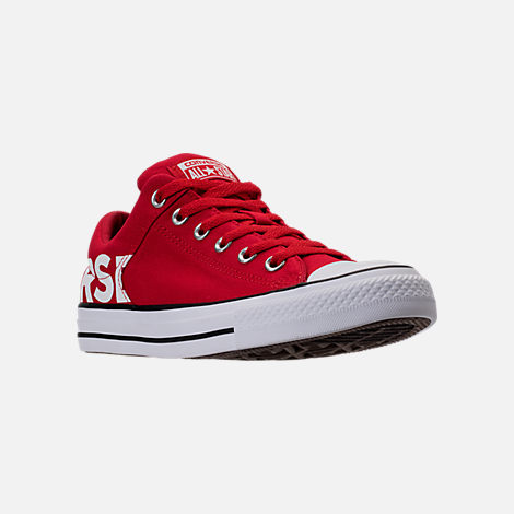 Three Quarter view of Men's Converse Chuck Taylor All-Star Canvas Workmark Casual Shoes in Red/White/Black