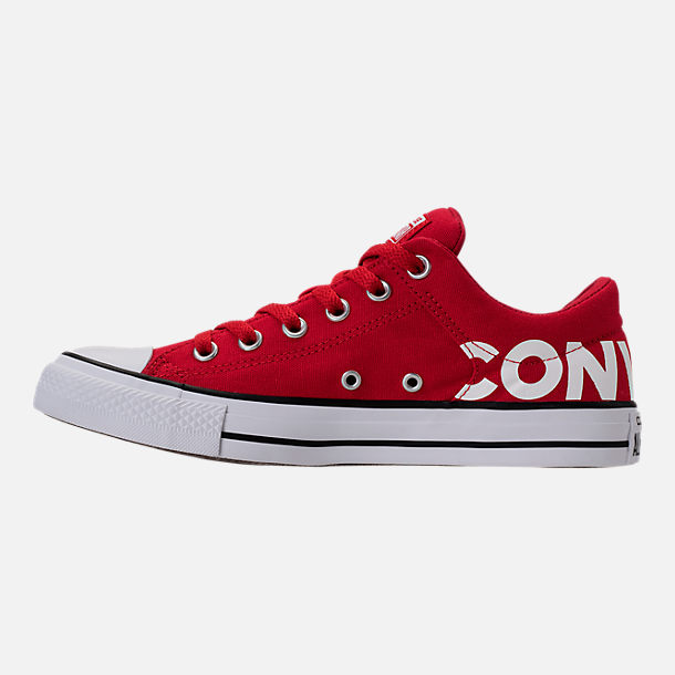 Left view of Men's Converse Chuck Taylor All-Star Canvas Workmark Casual Shoes in Red/White/Black