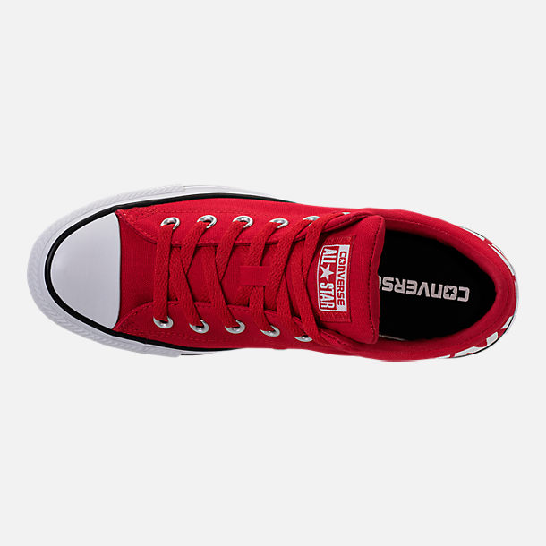 Top view of Men's Converse Chuck Taylor All-Star Canvas Workmark Casual Shoes in Red/White/Black