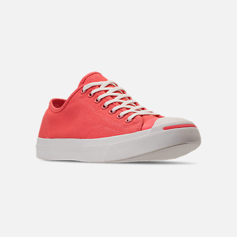 Three Quarter view of Unisex Converse Jack Purcell Low Top Woven Textile Casual Shoes in Rush Coral/Egret