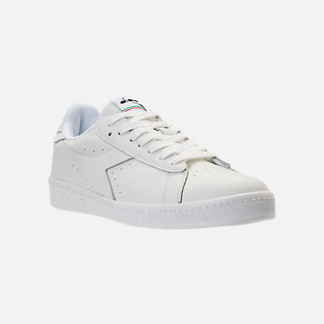 Three Quarter view of Unisex Diadora Game L Low Waxed Casual Shoes in White/Black