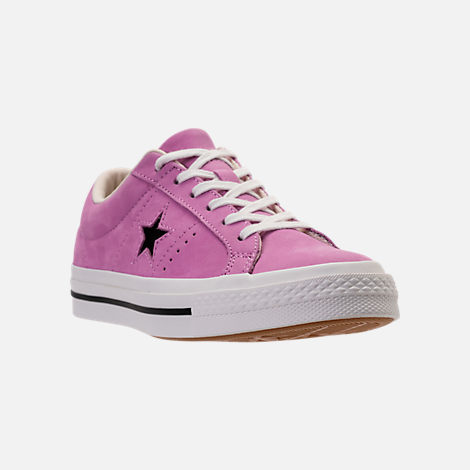Three Quarter view of Women's Converse One Star Casual Shoes in Fuchsia Glow