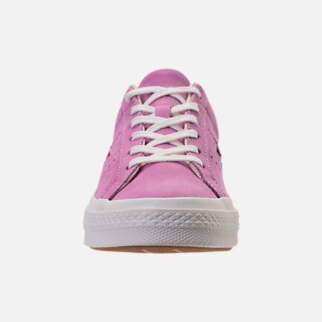 Front view of Women's Converse One Star Casual Shoes in Fuchsia Glow