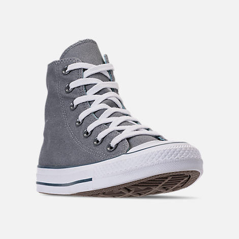 Three Quarter view of Women's Converse Chuck Taylor All Star Seasonal High Top Casual Shoes in Cool Grey/Shoreline Blue