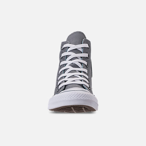 Front view of Women's Converse Chuck Taylor All Star Seasonal High Top Casual Shoes in Cool Grey/Shoreline Blue