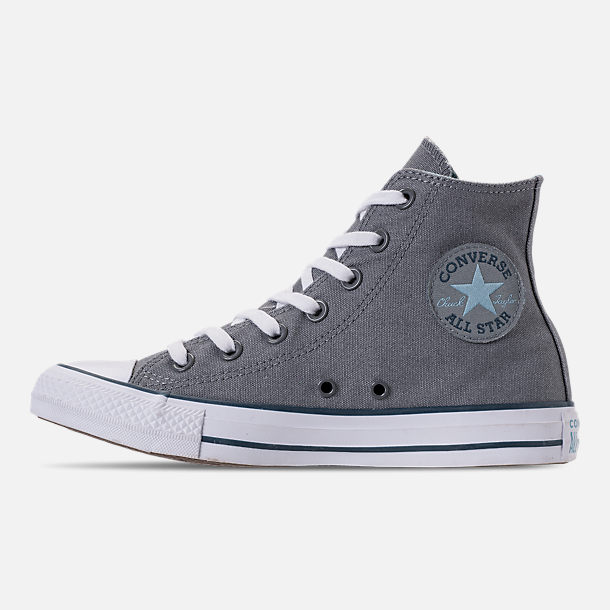 Left view of Women's Converse Chuck Taylor All Star Seasonal High Top Casual Shoes in Cool Grey/Shoreline Blue