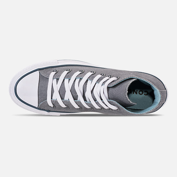 Top view of Women's Converse Chuck Taylor All Star Seasonal High Top Casual Shoes in Cool Grey/Shoreline Blue