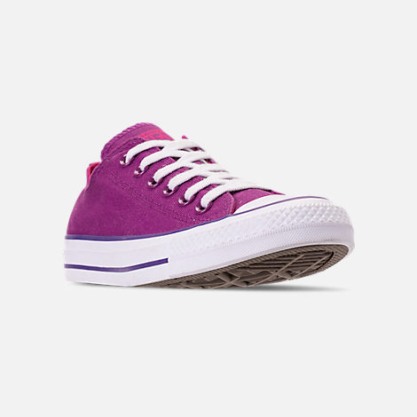 Three Quarter view of Women's Converse Chuck Taylor All Star Seasonal Ox Casual Shoes in Icon Violet/Pink Pop/White