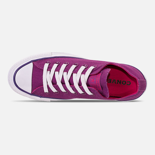 Top view of Women's Converse Chuck Taylor All Star Seasonal Ox Casual Shoes in Icon Violet/Pink Pop/White