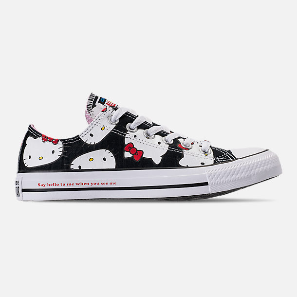Right view of Women's Converse Chuck Taylor All Star Hello Kitty Ox Casual Shoes in Black/Prism Pink/White