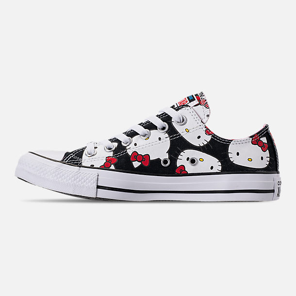 Left view of Women's Converse Chuck Taylor All Star Hello Kitty Ox Casual Shoes in Black/Prism Pink/White