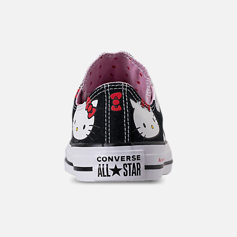 Back view of Women's Converse Chuck Taylor All Star Hello Kitty Ox Casual Shoes in Black/Prism Pink/White