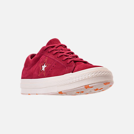 Three Quarter view of Women s Converse One Star Low Casual Shoes in  Rhubarb Field Orange 48b748c56