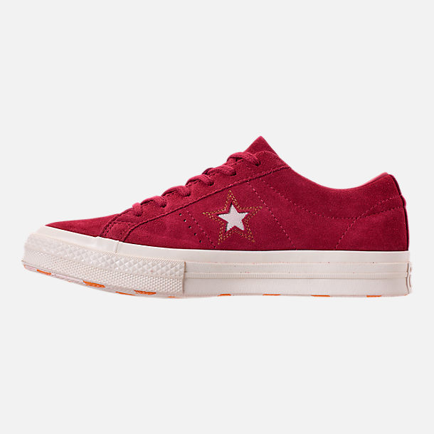 Left view of Women's Converse One Star Low Casual Shoes in Rhubarb/Field Orange/Egret