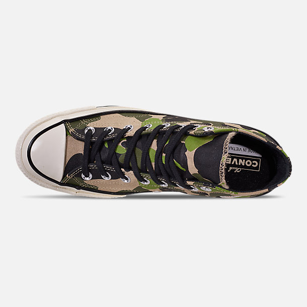 Top view of Men's Converse Chuck 70 High Top Casual Shoes in Candied Ginger/Piquant Green