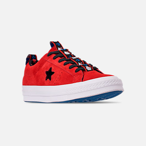 Three Quarter view of Women's Converse x Hello Kitty One Star Low Casual Shoes in Fiery Red