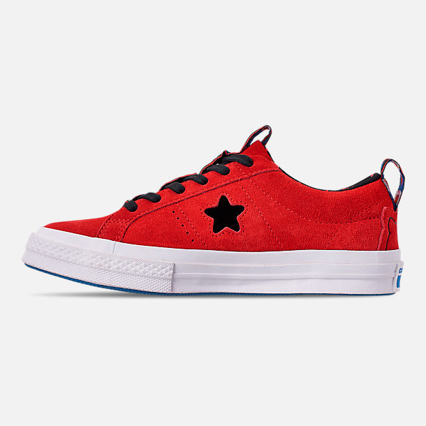 Left view of Women's Converse x Hello Kitty One Star Low Casual Shoes in Fiery Red