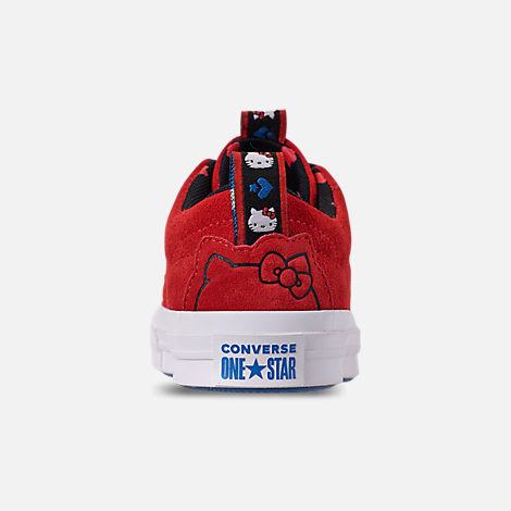 Back view of Women's Converse x Hello Kitty One Star Low Casual Shoes in Fiery Red