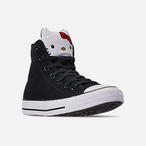 Three Quarter view of Women's Converse x Hello Kitty Chuck Taylor All Star High Top Casual Shoes in Black