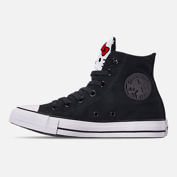 Left view of Women's Converse x Hello Kitty Chuck Taylor All Star High Top Casual Shoes in Black