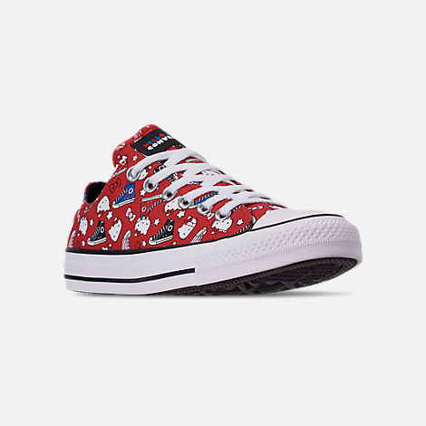Three Quarter view of Women's Converse x Hello Kitty Chuck Taylor All Star Low Casual Shoes in Fiery Red/Black/White