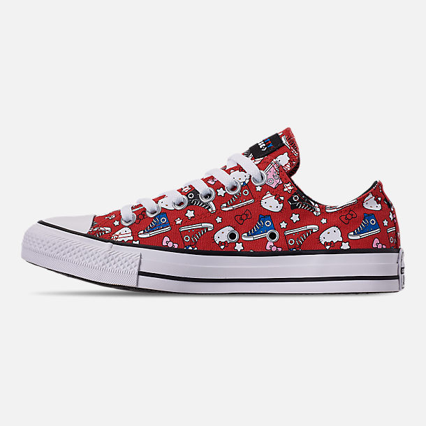 Left view of Women's Converse x Hello Kitty Chuck Taylor All Star Low Casual Shoes in Fiery Red/Black/White