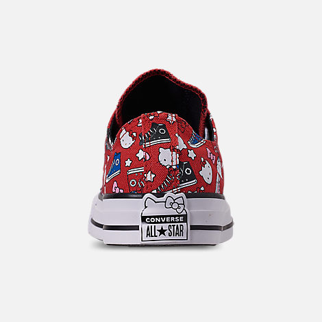 Back view of Women's Converse x Hello Kitty Chuck Taylor All Star Low Casual Shoes in Fiery Red/Black/White