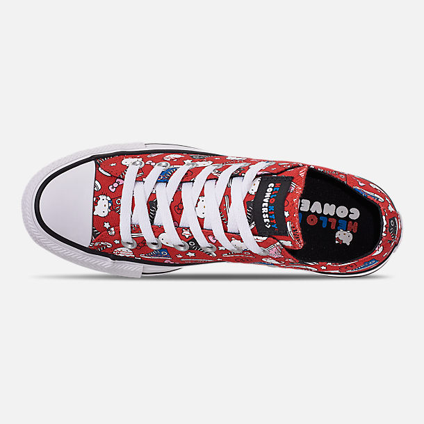 Top view of Women's Converse x Hello Kitty Chuck Taylor All Star Low Casual Shoes in Fiery Red/Black/White