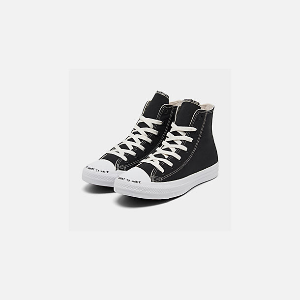 Three Quarter view of Men's Converse Chuck Taylor All Star Renew High Top Casual Shoes in Black/Black/White