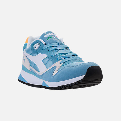 Three Quarter view of Unisex Diadora V7000 NYL II Casual Shoes in Light Blue/White/Yellow