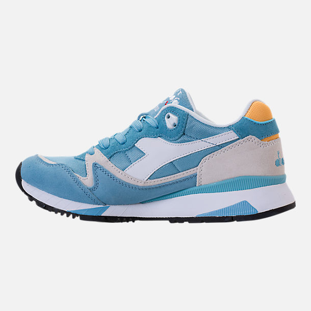 Left view of Unisex Diadora V7000 NYL II Casual Shoes in Light Blue/White/Yellow