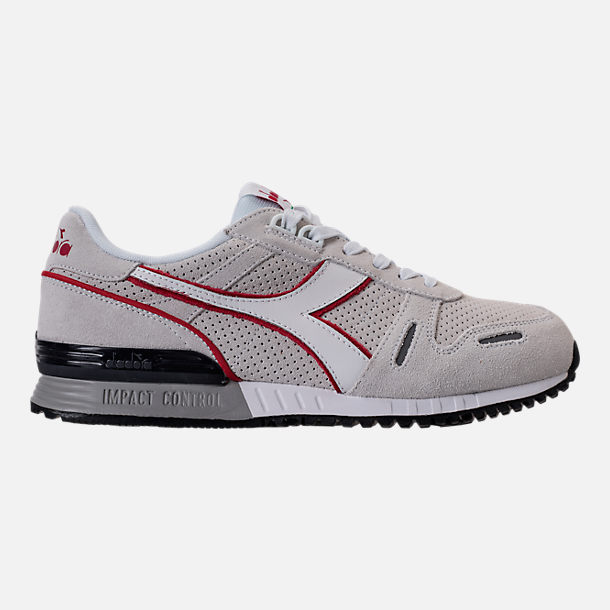 Right view of Unisex Diadora Titan Premium Casual Shoes in Grey/Black/Red/White