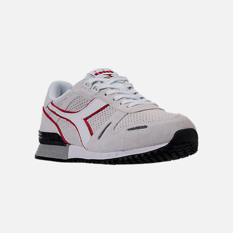 Three Quarter view of Unisex Diadora Titan Premium Casual Shoes in Grey/Black/Red/White