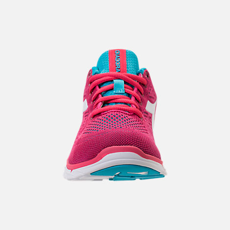 Front view of Unisex Diadora NJ-303 Trama 2 Running Shoes in Hot Pink/Aqua/White
