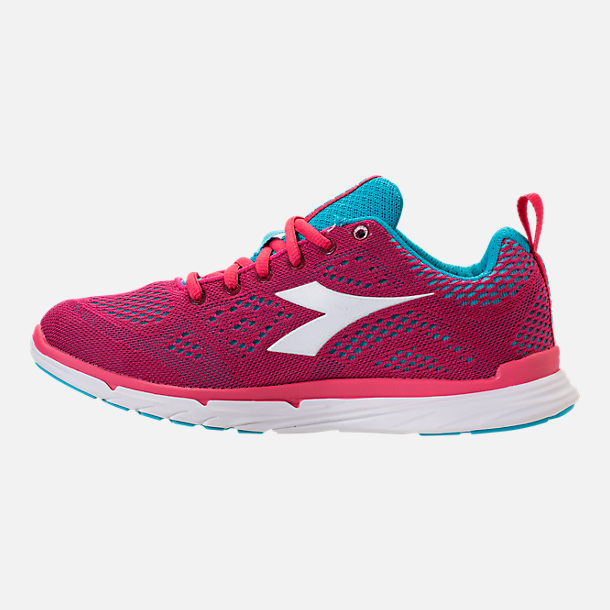 Left view of Unisex Diadora NJ-303 Trama 2 Running Shoes in Hot Pink/Aqua/White