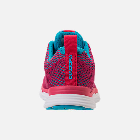 Back view of Unisex Diadora NJ-303 Trama 2 Running Shoes in Hot Pink/Aqua/White