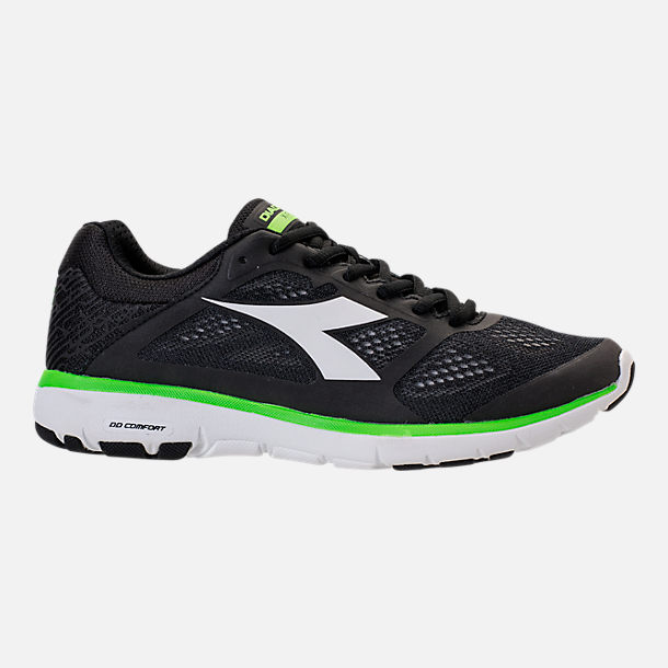 Right view of Men's Diadora X Run Running Shoes in Black/White/Neon Green