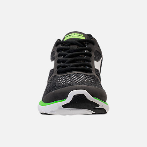 Front view of Men's Diadora X Run Running Shoes in Black/White/Neon Green