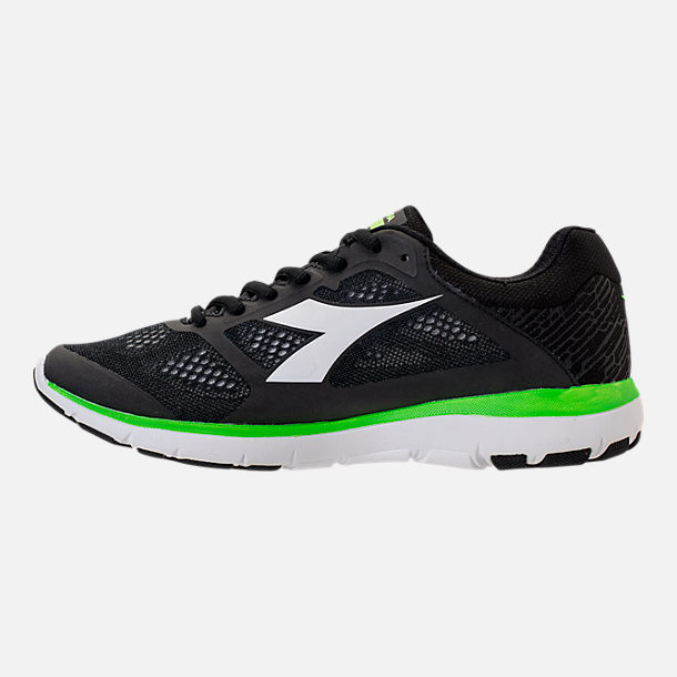 Left view of Men's Diadora X Run Running Shoes in Black/White/Neon Green