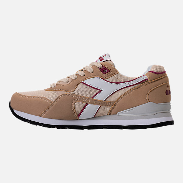 Left view of Unisex Diadora N-92 Casual Shoes in Beige/Red/White