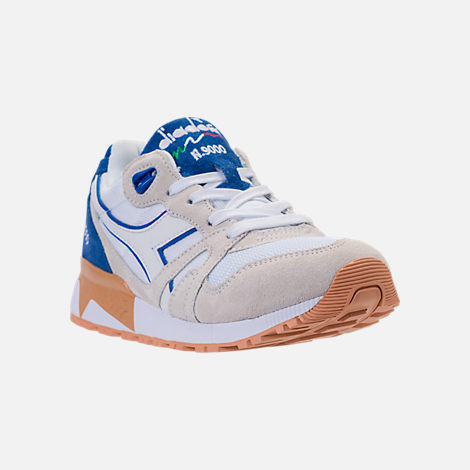 Three Quarter view of Unisex Diadora N9000 III Casual Shoes in Stone/White/Blue